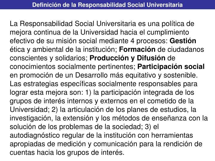 Definición de la Responsabilidad Social Universitaria