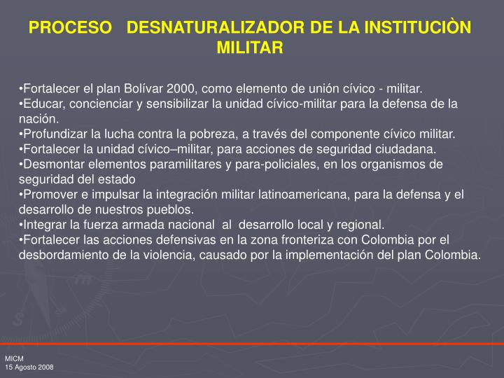 PROCESO   DESNATURALIZADOR DE LA INSTITUCIÒN MILITAR