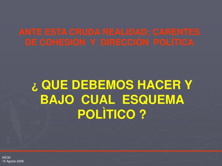 ANTE ESTA CRUDA REALIDAD; CARENTES  DE COHESIÒN  Y  DIRECCIÒN  POLÎTICA