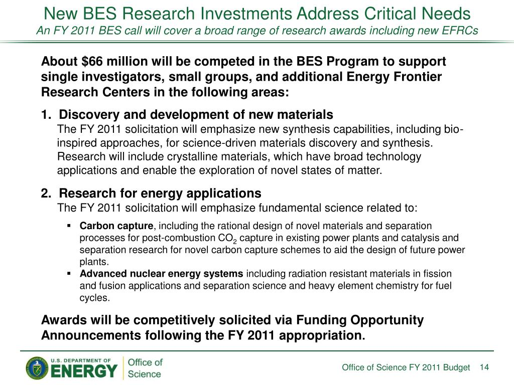 New BES Research Investments Address Critical Needs