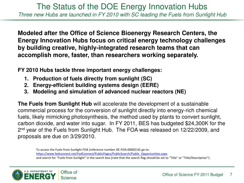 The Status of the DOE Energy Innovation Hubs