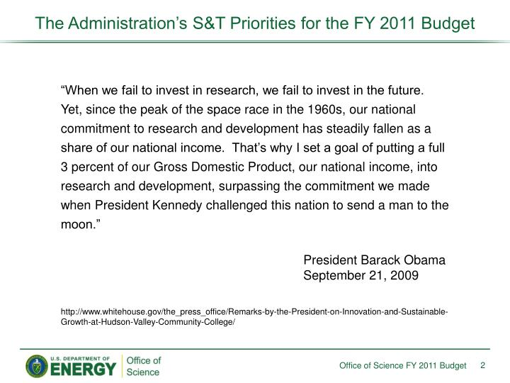 The administration s s t priorities for the fy 2011 budget