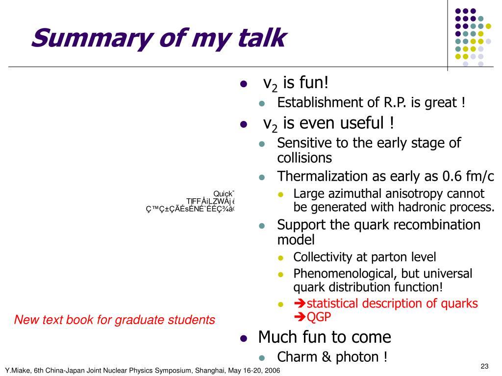Summary of my talk