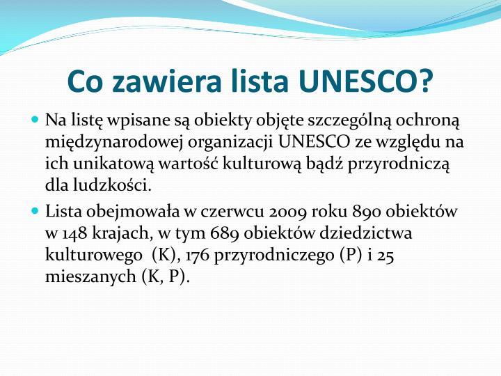 Co zawiera lista UNESCO?