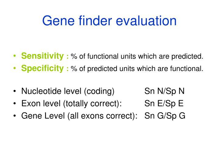 Gene finder evaluation
