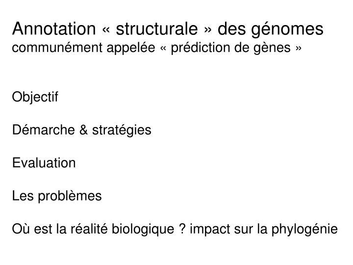 Annotation «structurale» des génomes