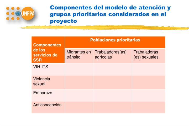 Componentes del modelo de atención y grupos prioritarios considerados en el proyecto