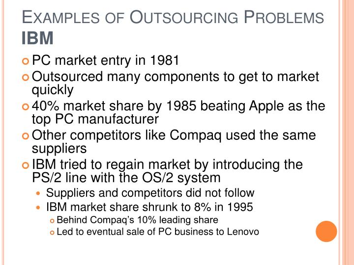 examples of outsourcing Some common examples of outsourcing include manufacturing of components, computer programming services, tax compliance and other accounting functions, training.