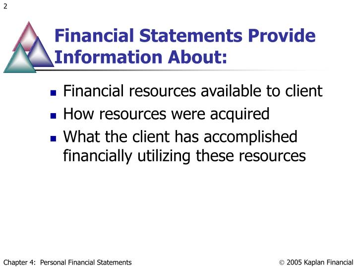 Financial Statements Provide Information About: