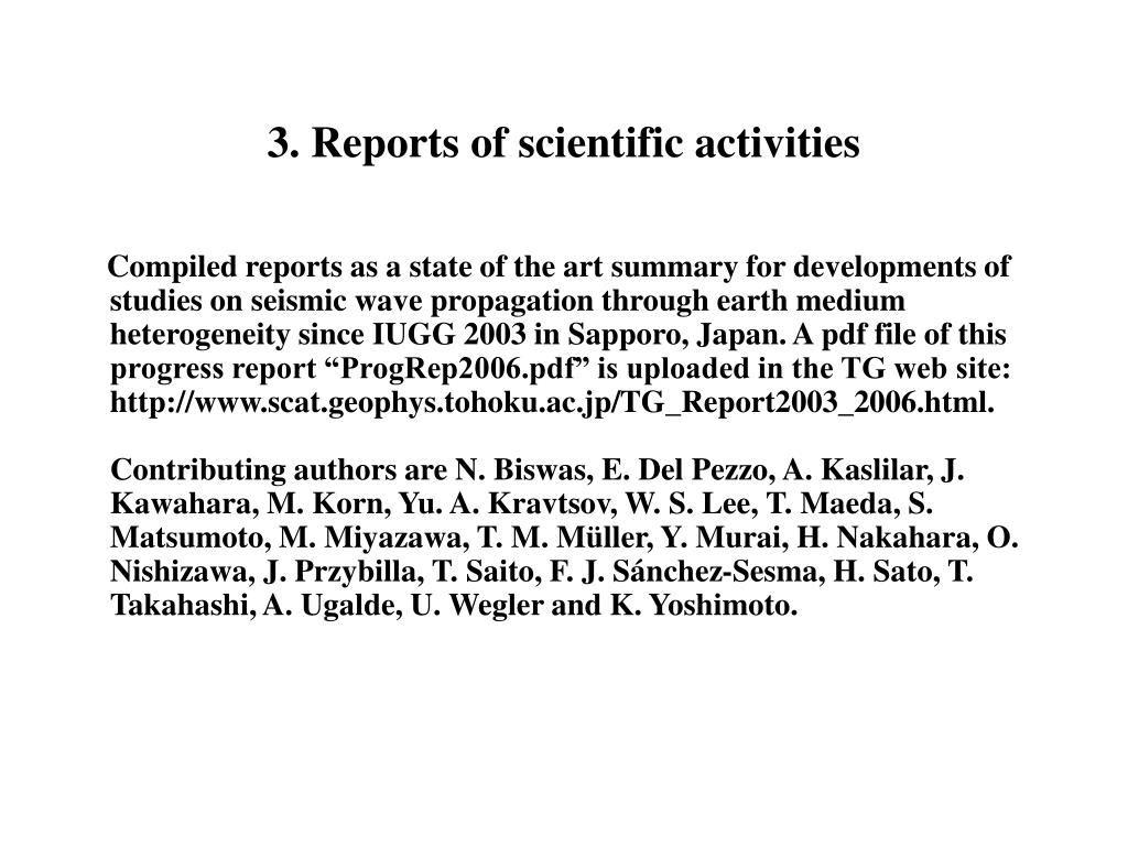 3. Reports of scientific activities