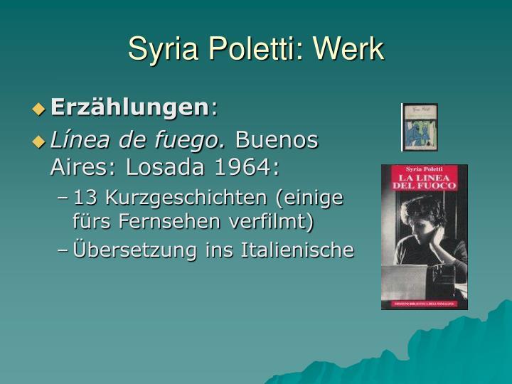 Syria Poletti: Werk