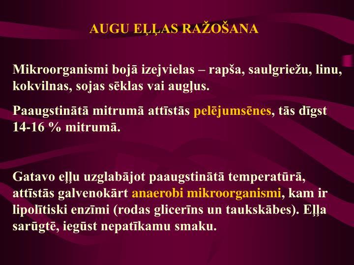 AUGU EĻĻAS RAŽOŠANA