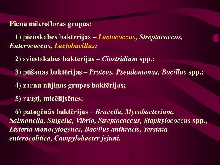Piena mikrofloras grupas: