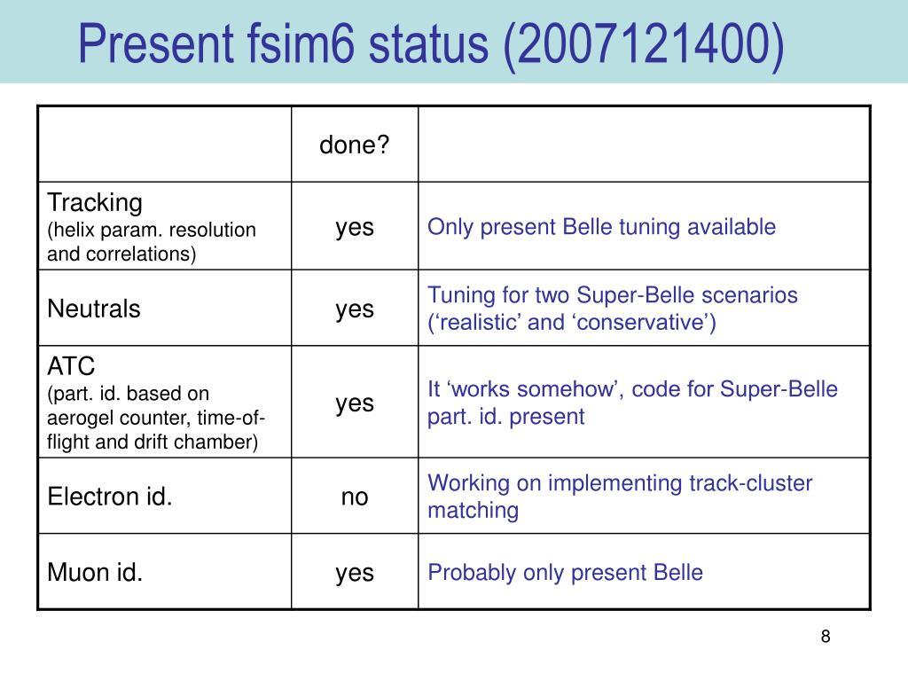 Present fsim6 status (2007121400)