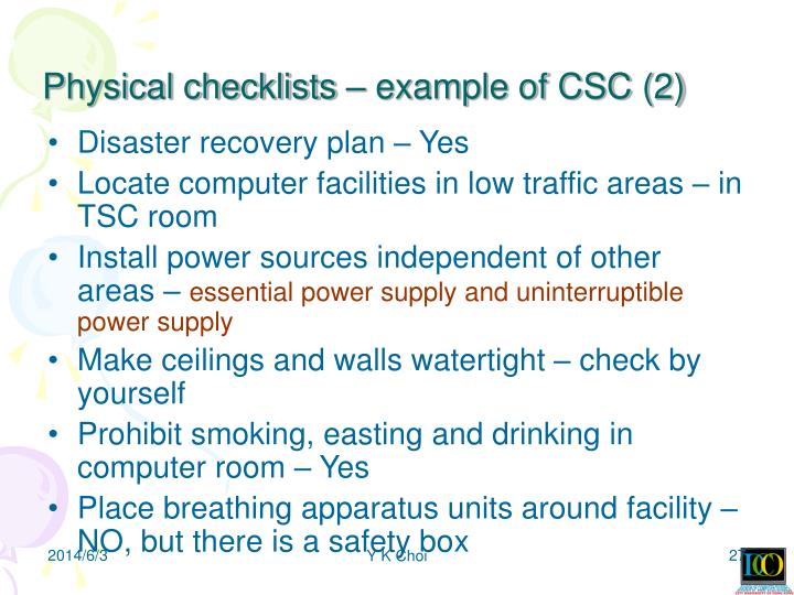 Physical checklists – example of CSC (2)