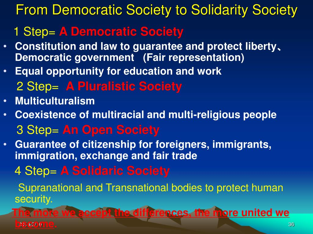 From Democratic Society to Solidarity Society