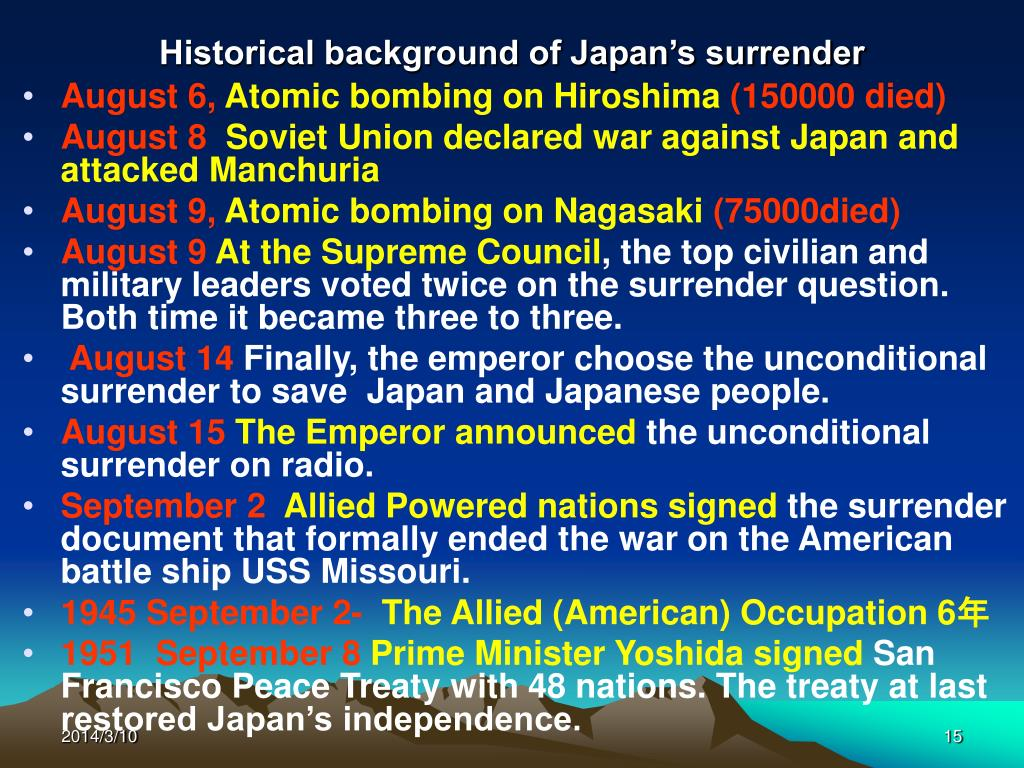 Historical background of Japan's surrender