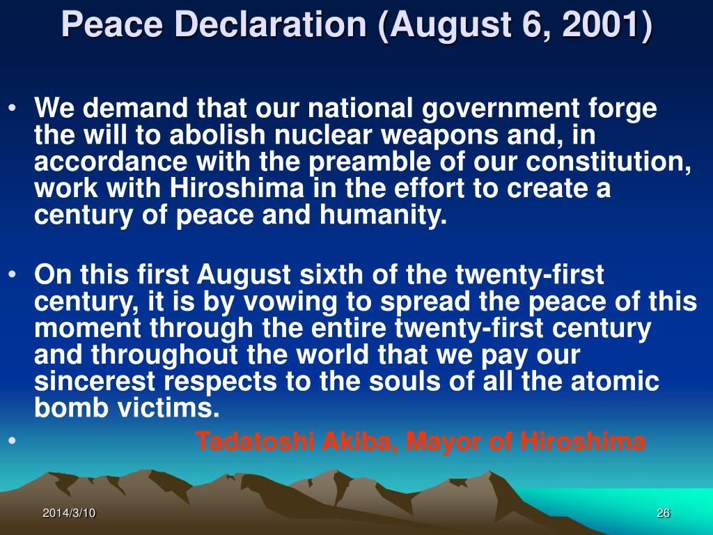 Peace Declaration (August 6, 2001)