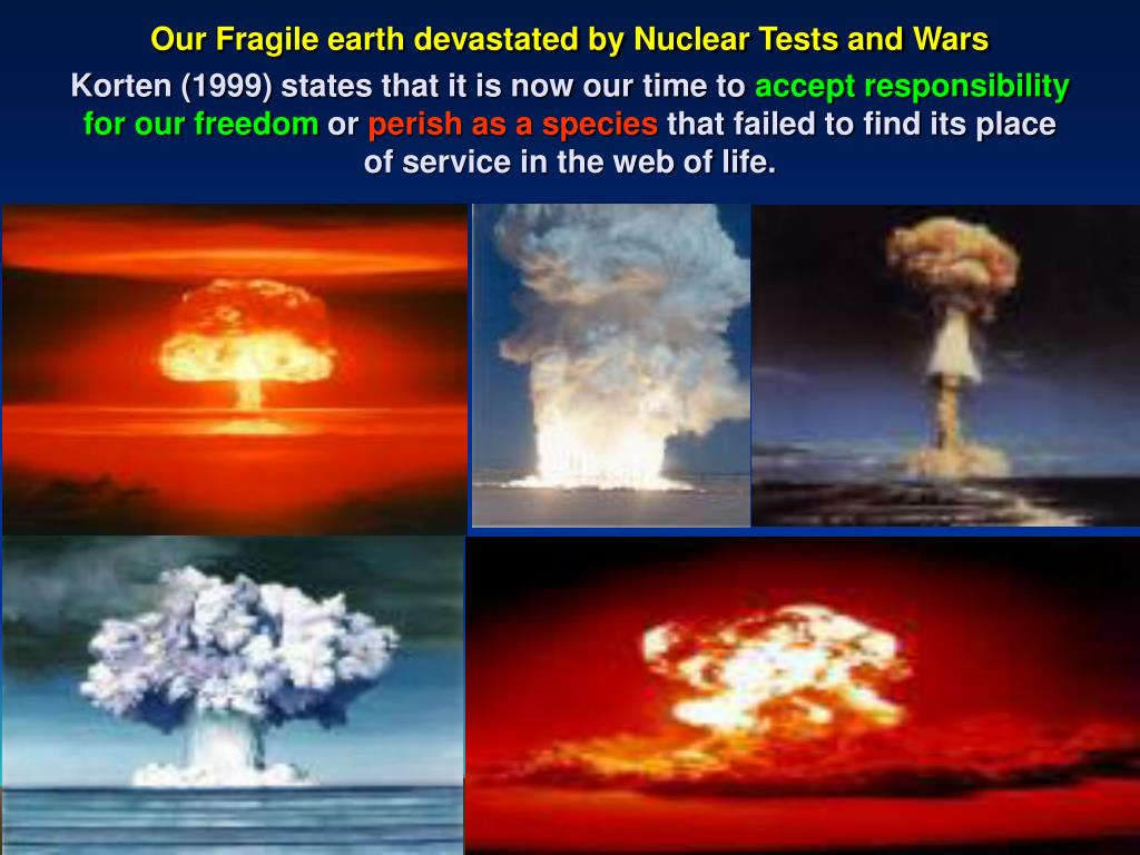 Our Fragile earth devastated by Nuclear Tests and Wars