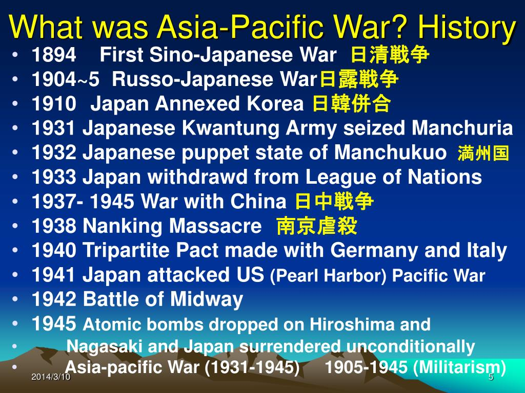 What was Asia-Pacific War? History