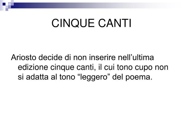 CINQUE CANTI