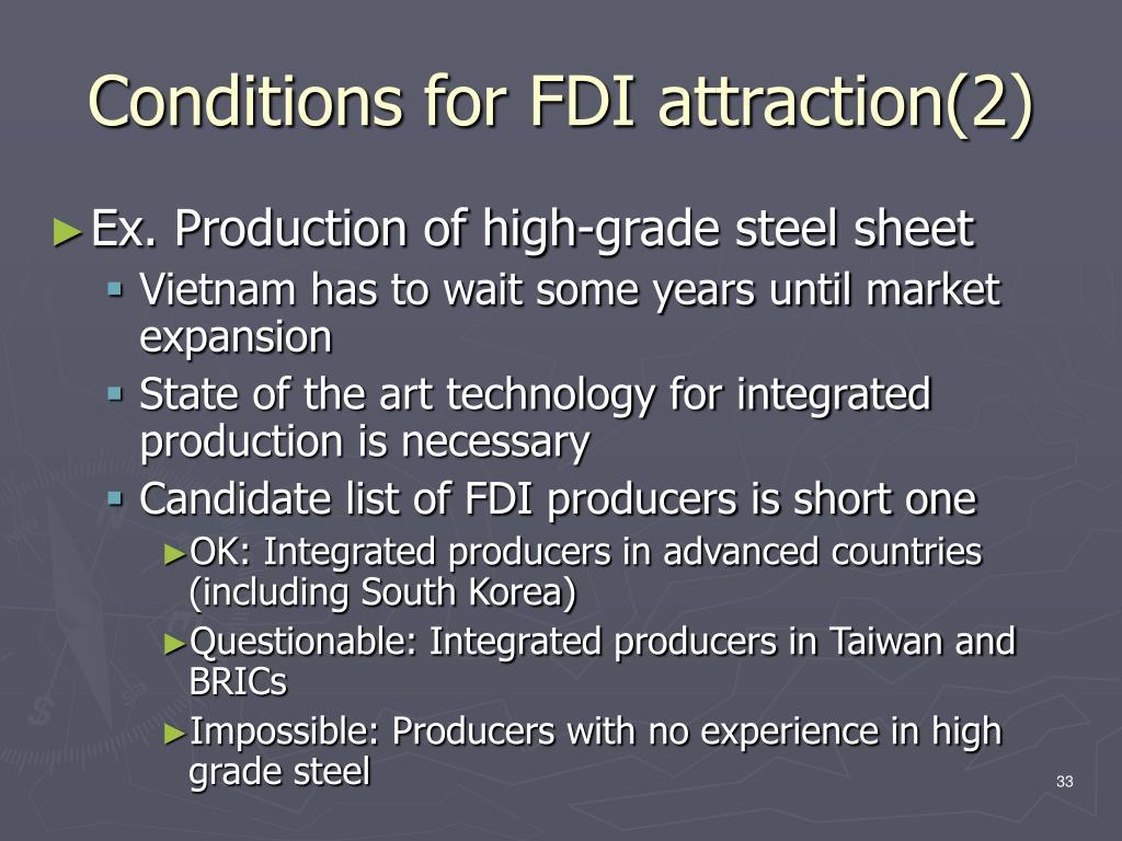 Conditions for FDI attraction(2)