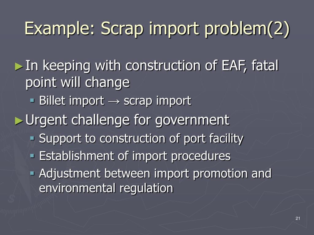 Example: Scrap import problem(2)
