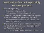 irrationality of current import duty on sheet products