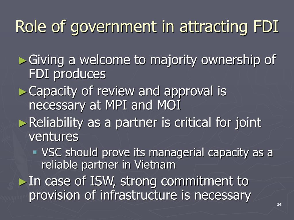 Role of government in attracting FDI