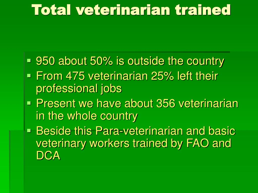 Total veterinarian trained