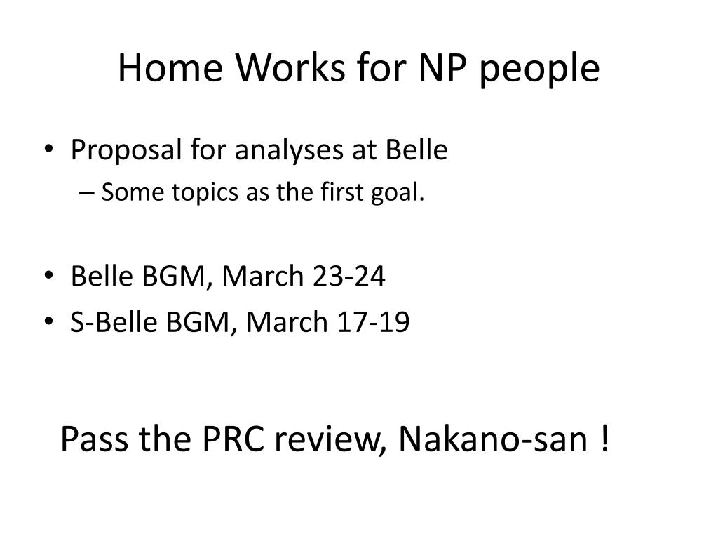 Home Works for NP people
