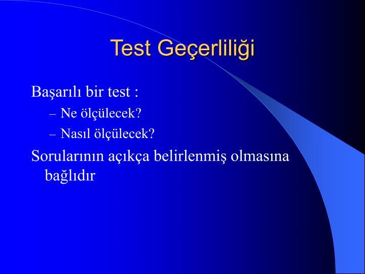 Test Geçerliliği