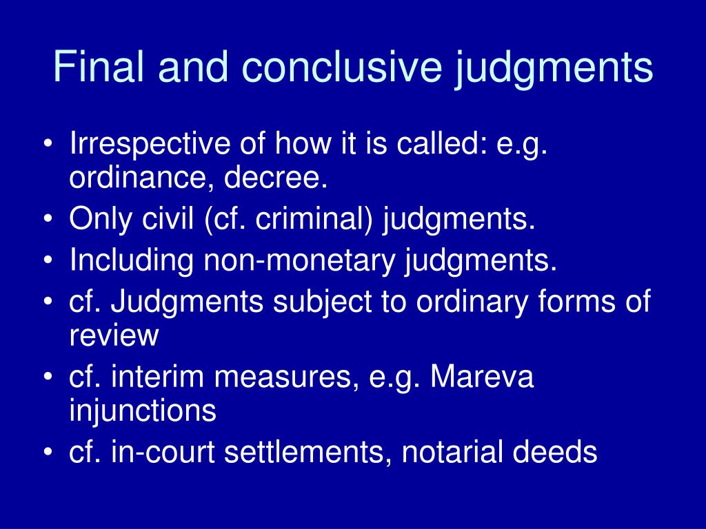 Final and conclusive judgments