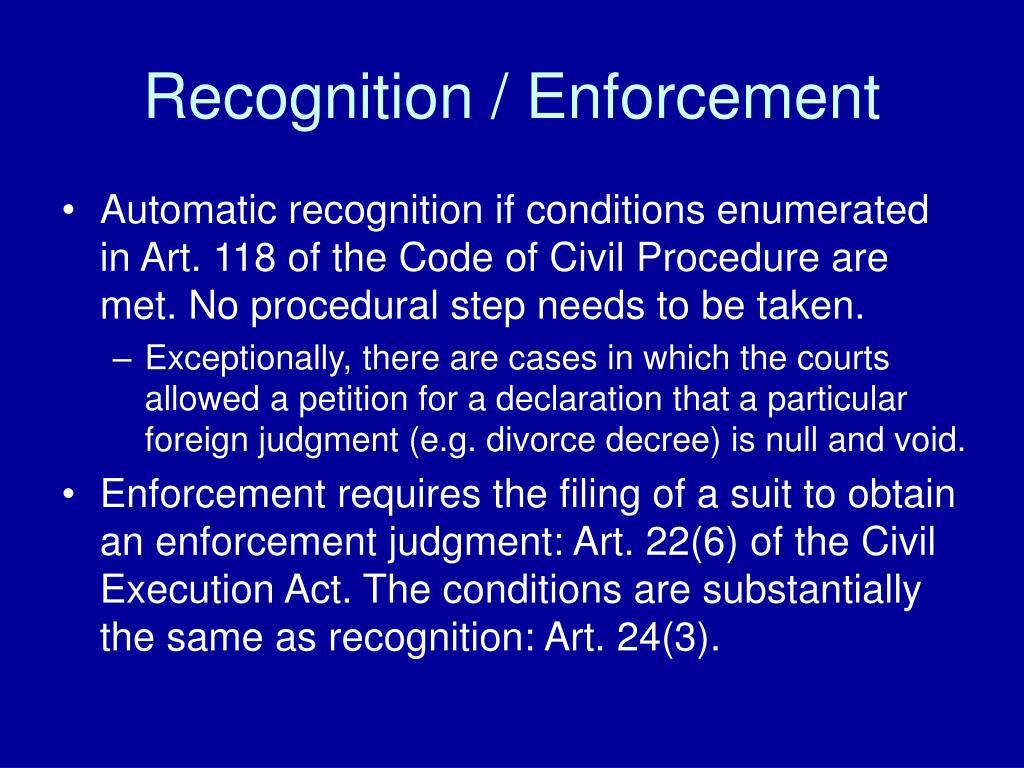Recognition / Enforcement