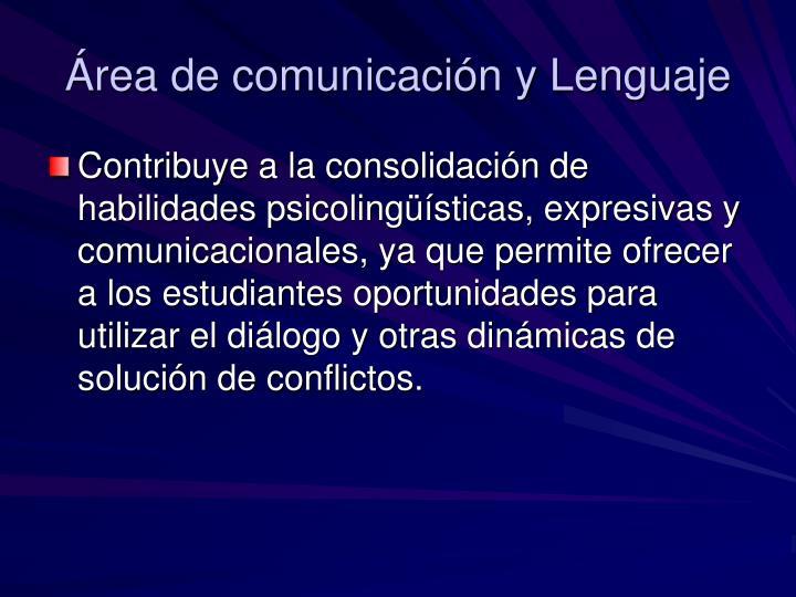Área de comunicación y Lenguaje