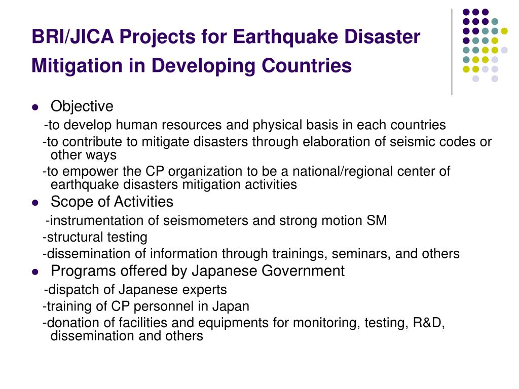 BRI/JICA Projects for Earthquake Disaster Mitigation in Developing Countries