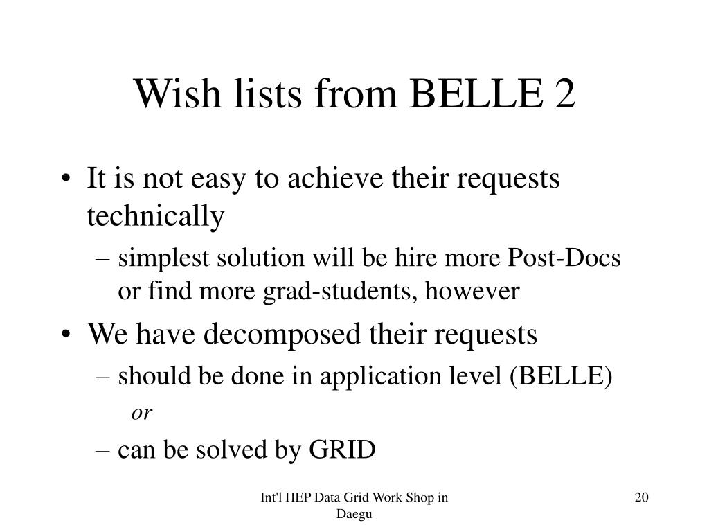 Wish lists from BELLE 2