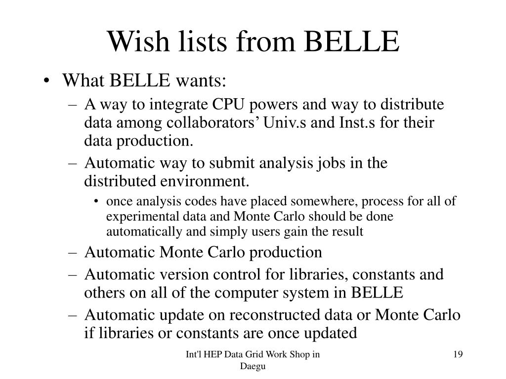 Wish lists from BELLE