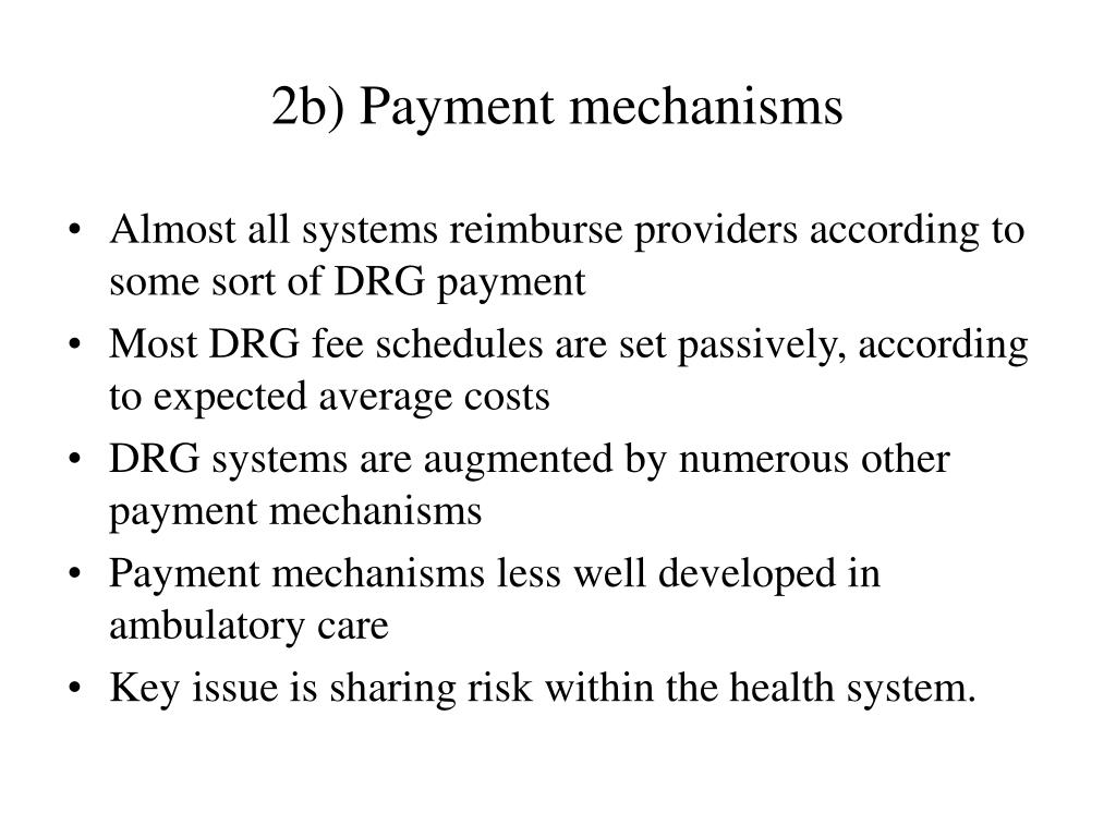 2b) Payment mechanisms