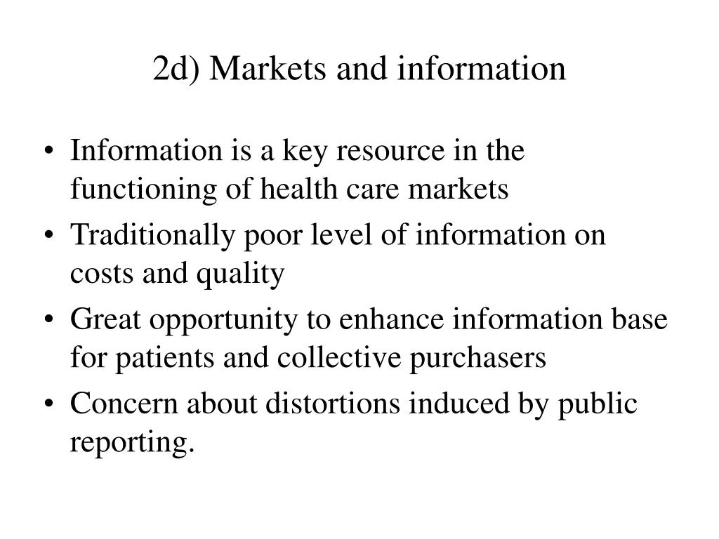 2d) Markets and information
