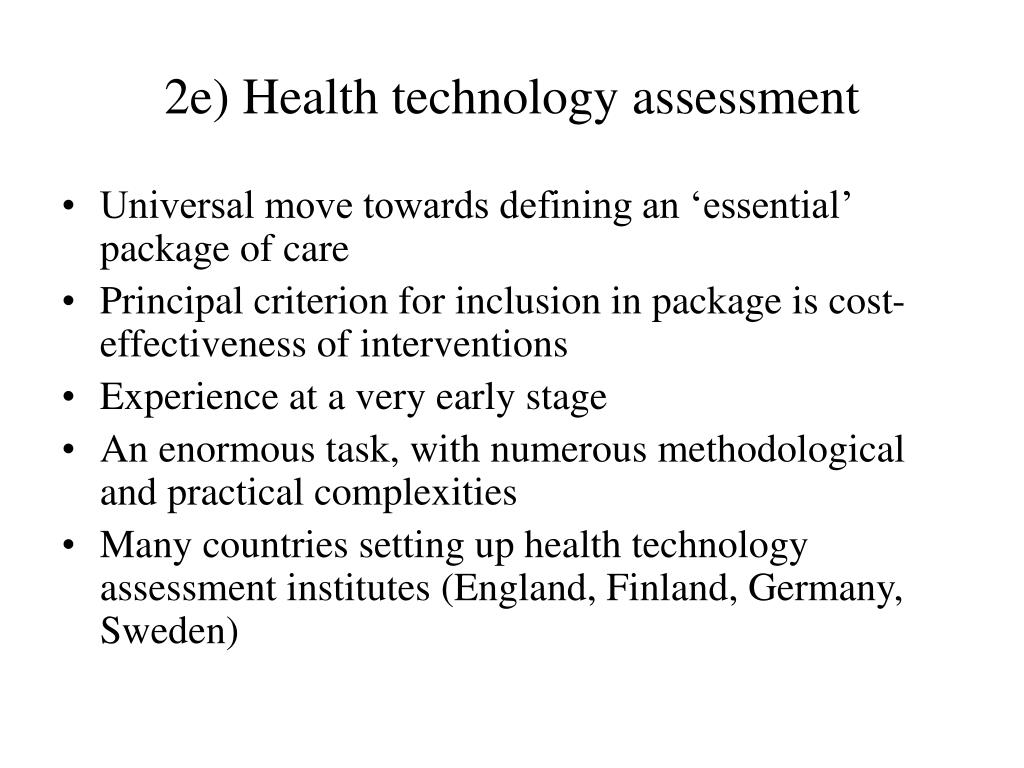 2e) Health technology assessment