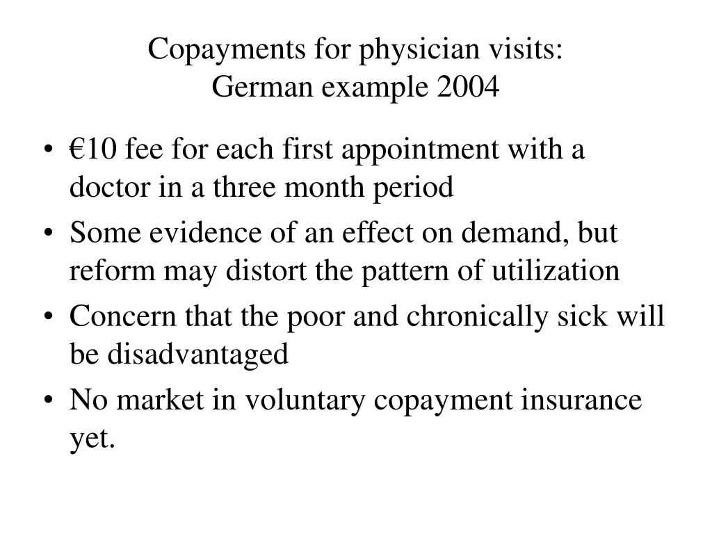 Copayments for physician visits: