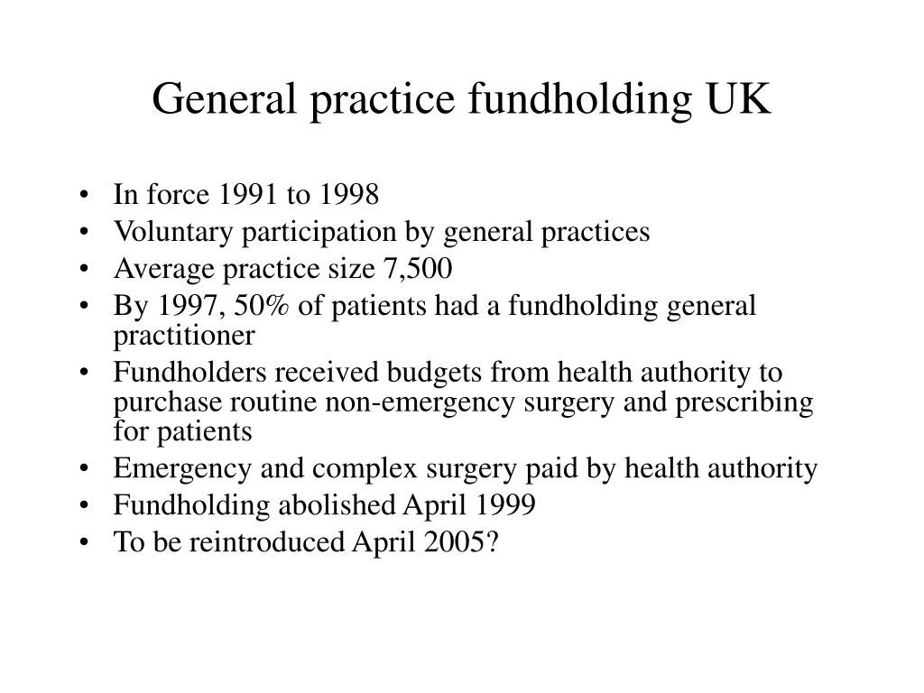 General practice fundholding UK