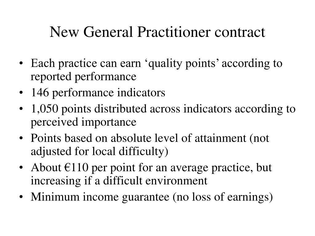 New General Practitioner contract