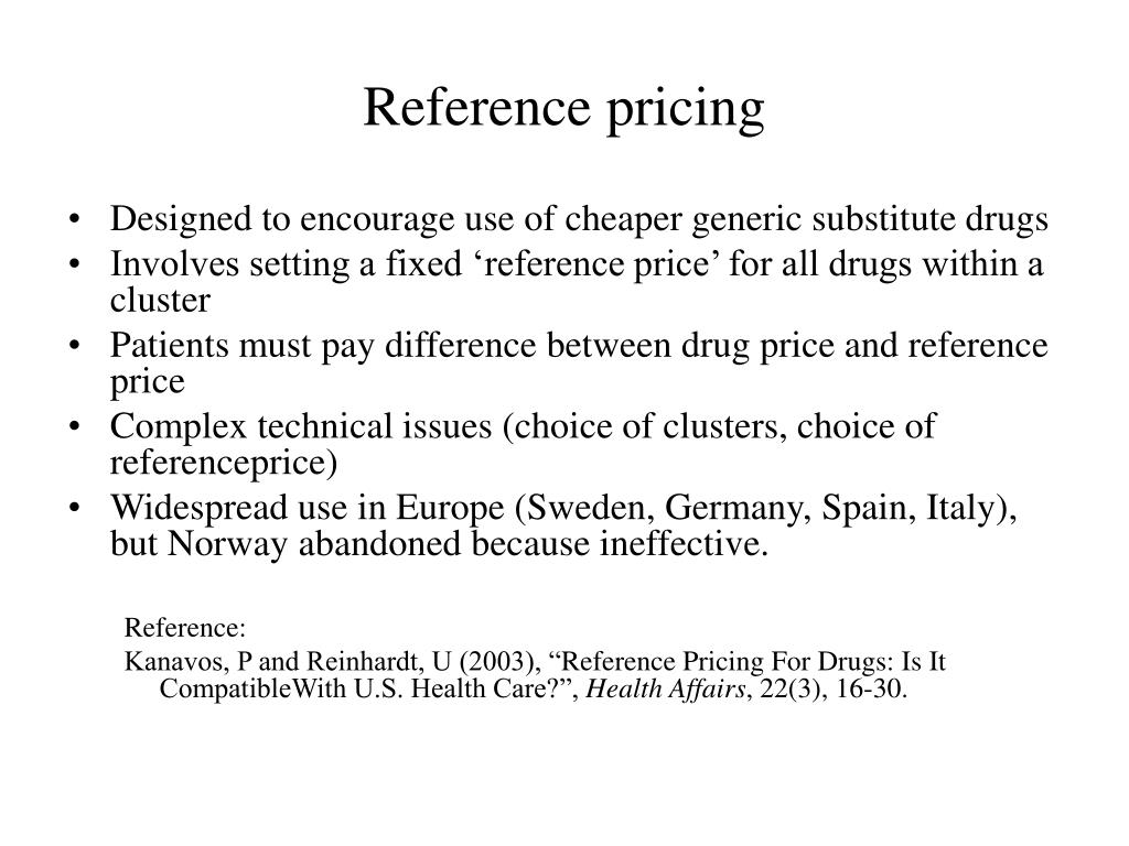Reference pricing