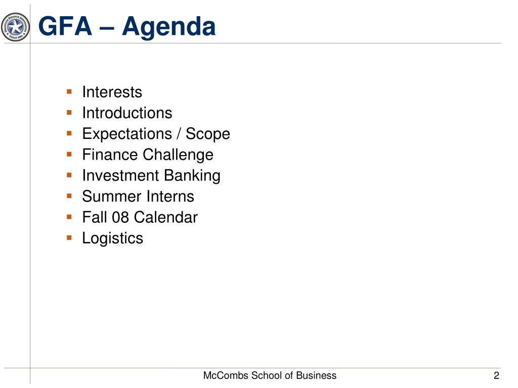 GFA – Agenda