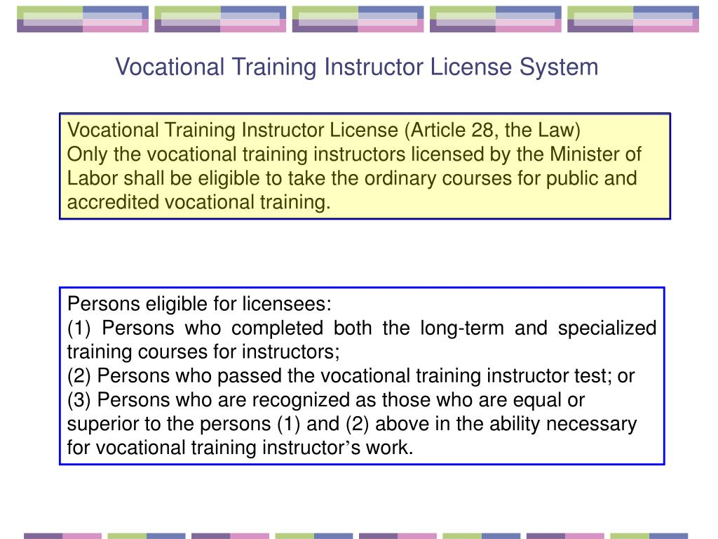 Vocational Training Instructor License System