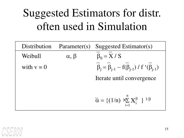 Distribution     Parameter(s)	Suggested Estimator(s)