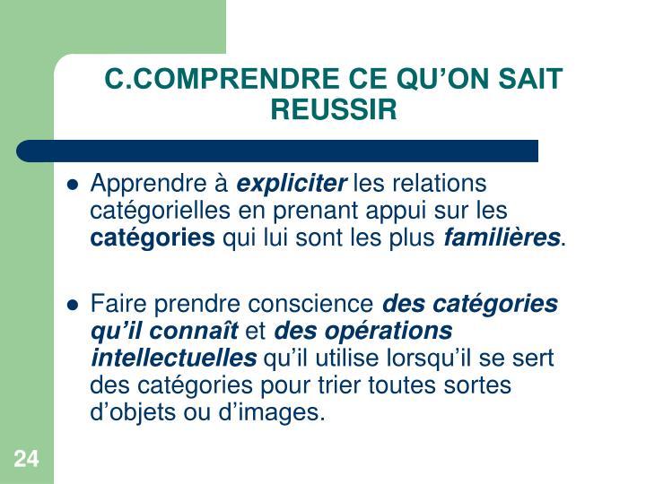 C.COMPRENDRE CE QU'ON SAIT REUSSIR