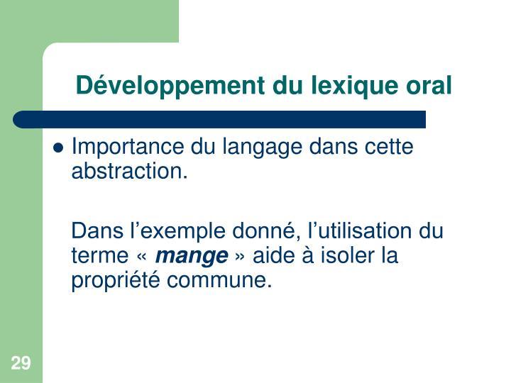 Développement du lexique oral